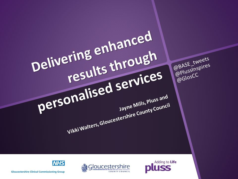 Delivering enhanced results through personalised services Jayne Mills, Pluss and Vikki Walters, Gloucestershire County Council @BASE_tweets @PlussInsp