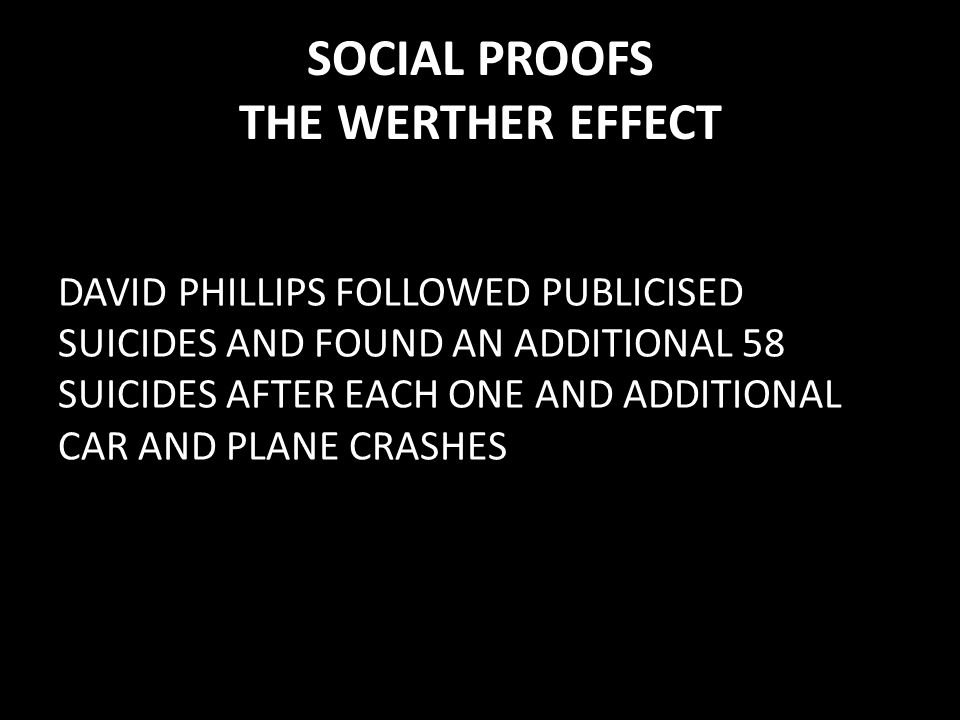 SOCIAL PROOFS THE WERTHER EFFECT DAVID PHILLIPS FOLLOWED PUBLICISED SUICIDES AND FOUND AN ADDITIONAL 58 SUICIDES AFTER EACH ONE AND ADDITIONAL CAR AND PLANE CRASHES