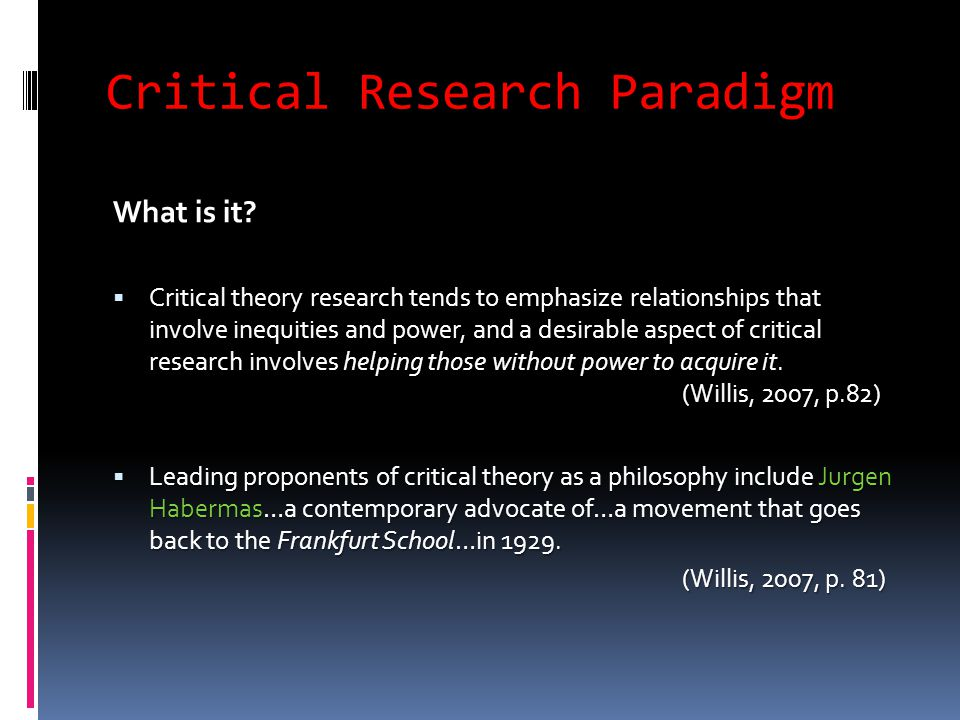 Critical Research Paradigm What is it.