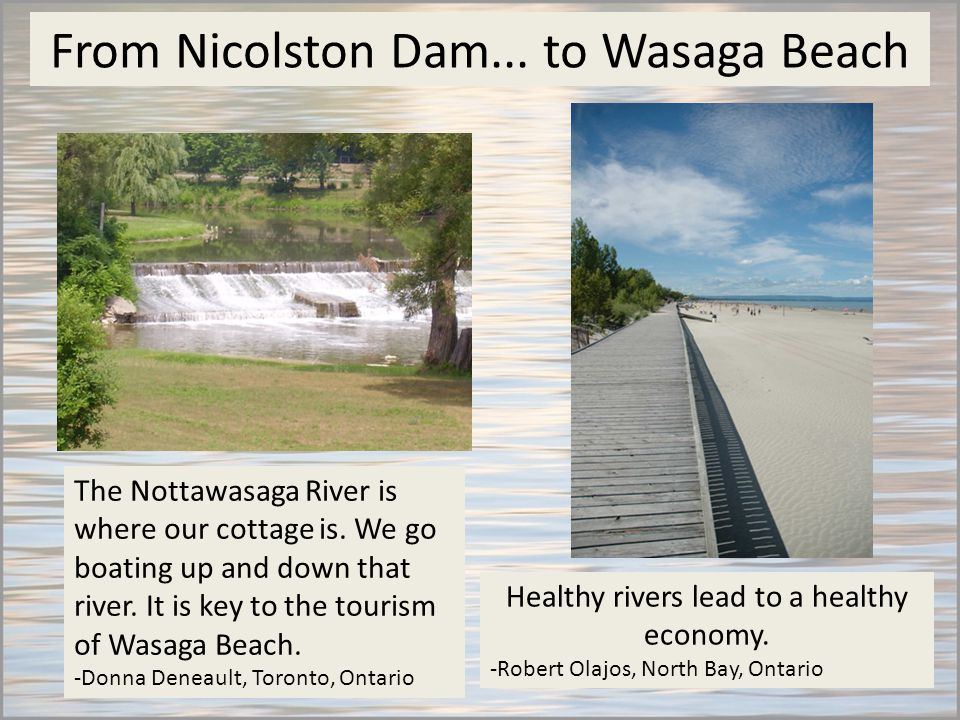 From Nicolston Dam... to Wasaga Beach The Nottawasaga River is where our cottage is.