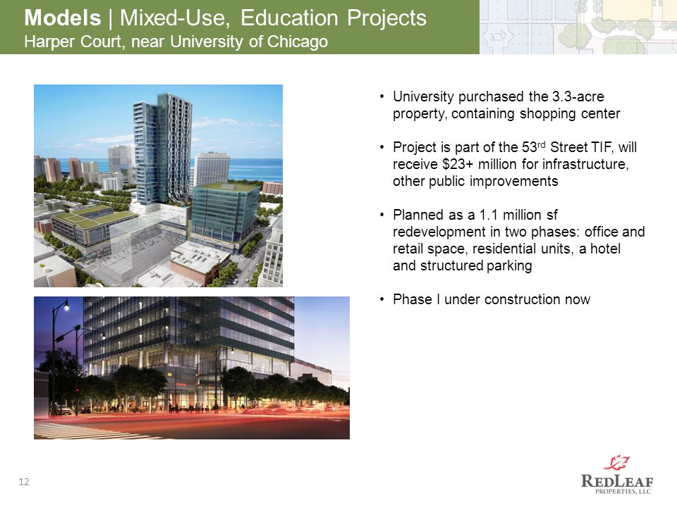 12 Models | Mixed-Use, Education Projects Harper Court, near University of Chicago University purchased the 3.3-acre property, containing shopping cen