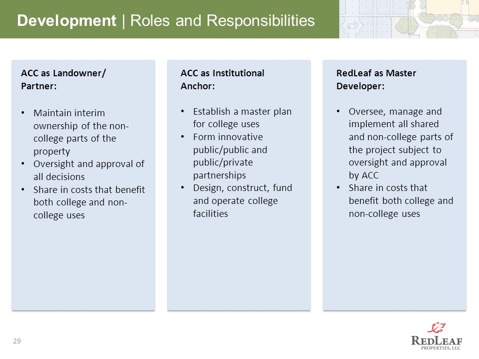 29 Development | Roles and Responsibilities ACC as Landowner/ Partner: Maintain interim ownership of the non- college parts of the property Oversight and approval of all decisions Share in costs that benefit both college and non- college uses ACC as Institutional Anchor: Establish a master plan for college uses Form innovative public/public and public/private partnerships Design, construct, fund and operate college facilities RedLeaf as Master Developer: Oversee, manage and implement all shared and non-college parts of the project subject to oversight and approval by ACC Share in costs that benefit both college and non-college uses