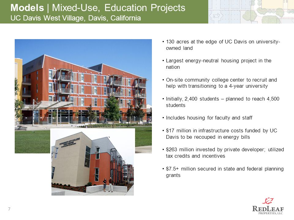 After 7 Models | Mixed-Use, Education Projects UC Davis West Village, Davis, California 130 acres at the edge of UC Davis on university- owned land La
