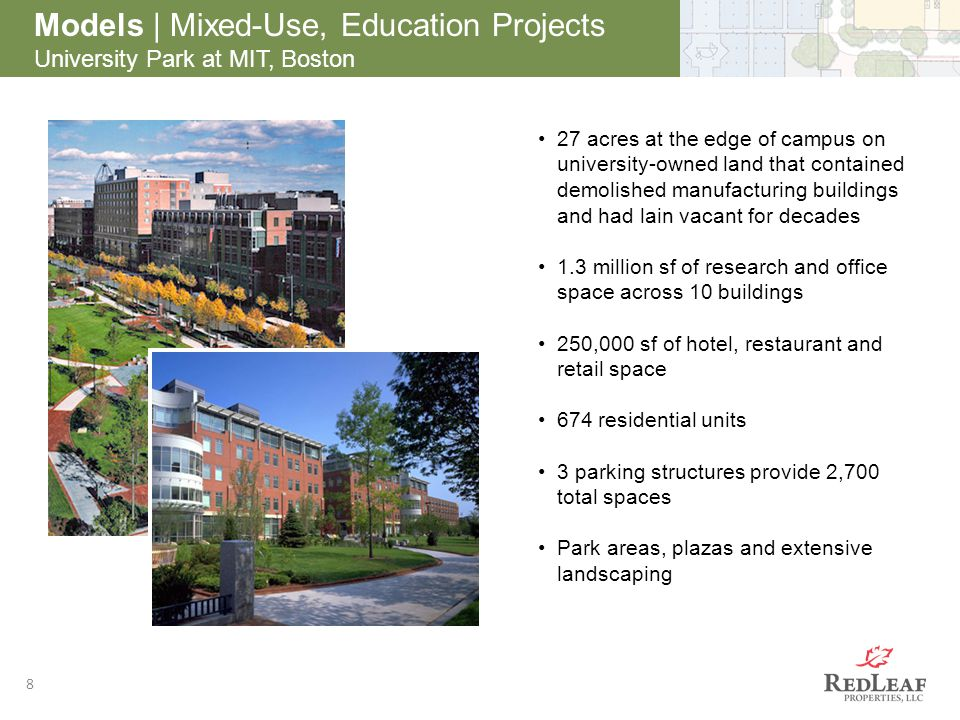 After 8 Models | Mixed-Use, Education Projects University Park at MIT, Boston 27 acres at the edge of campus on university-owned land that contained d