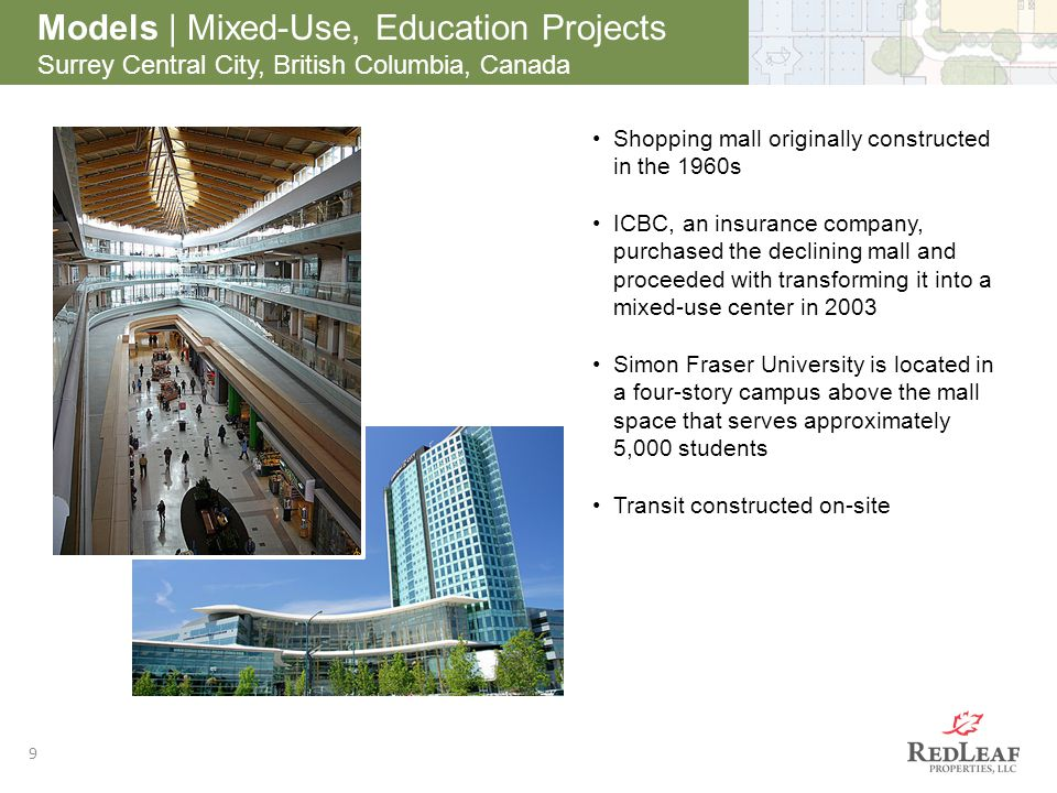 9 Models | Mixed-Use, Education Projects Surrey Central City, British Columbia, Canada Shopping mall originally constructed in the 1960s ICBC, an insurance company, purchased the declining mall and proceeded with transforming it into a mixed-use center in 2003 Simon Fraser University is located in a four-story campus above the mall space that serves approximately 5,000 students Transit constructed on-site