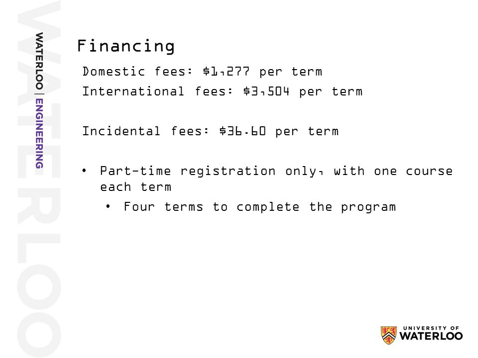 Domestic fees: $1,277 per term International fees: $3,504 per term Incidental fees: $36.60 per term Part-time registration only, with one course each term Four terms to complete the program Financing