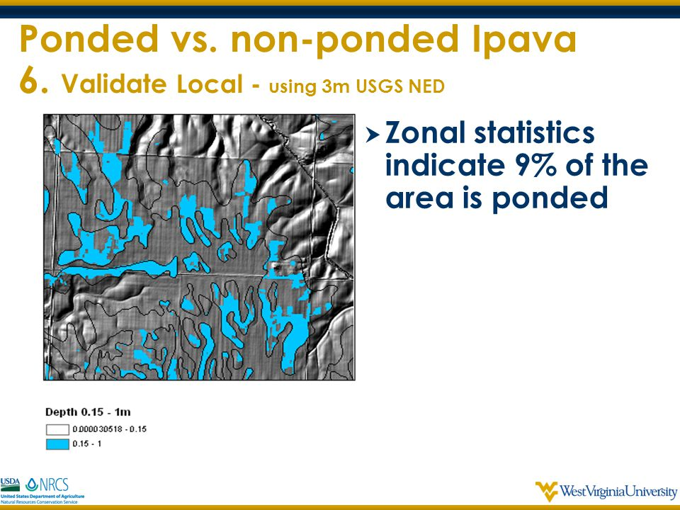 Ponded vs. non-ponded Ipava 6. Validate Local - using 3m USGS NED  Zonal statistics indicate 9% of the area is ponded