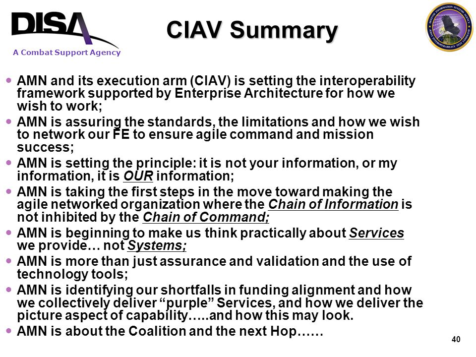 A Combat Support Agency CIAV Summary AMN and its execution arm (CIAV) is setting the interoperability framework supported by Enterprise Architecture f
