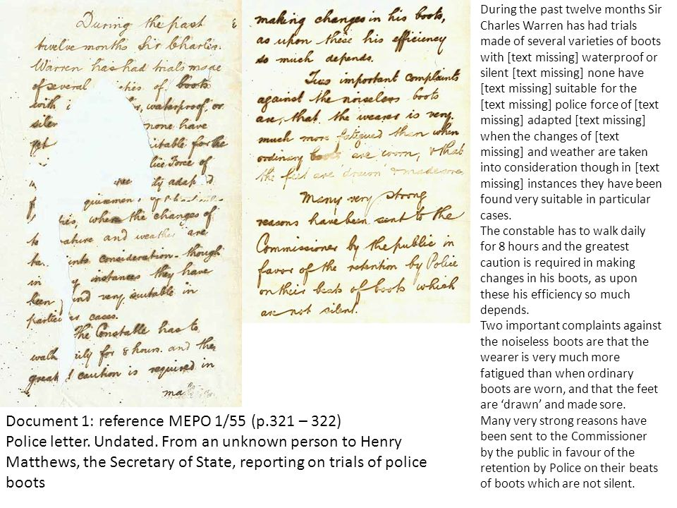 Document 1: reference MEPO 1/55 (p.321 – 322) Police letter. Undated. From an unknown person to Henry Matthews, the Secretary of State, reporting on t