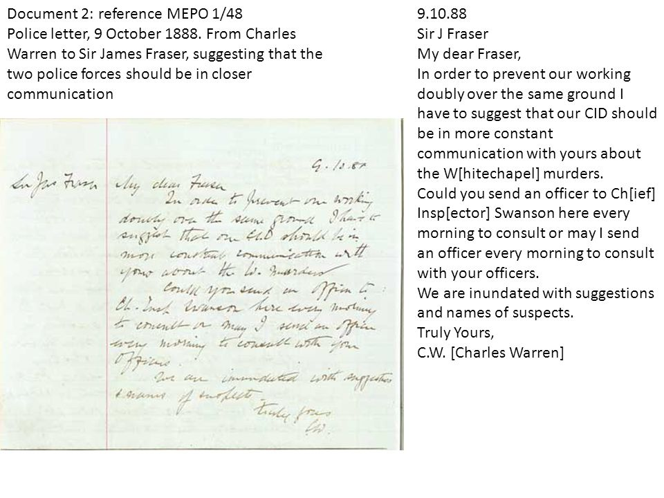 Document 2: reference MEPO 1/48 Police letter, 9 October 1888.