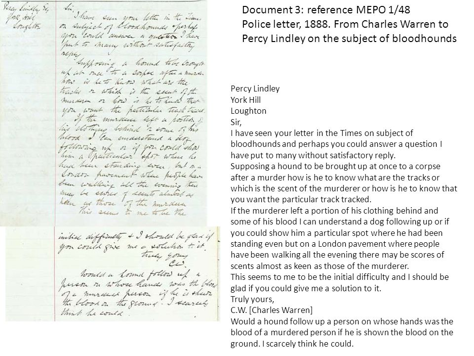 Document 3: reference MEPO 1/48 Police letter, 1888.