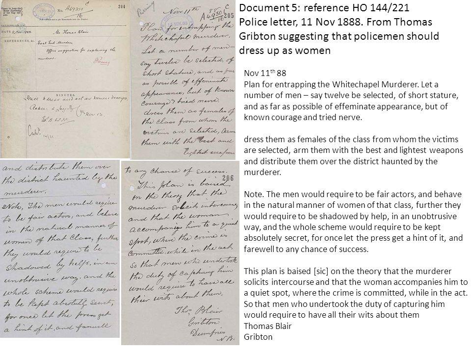 Document 5: reference HO 144/221 Police letter, 11 Nov 1888.