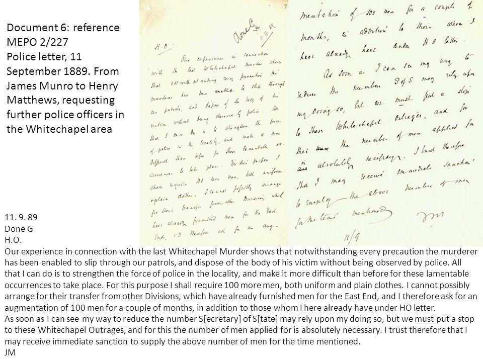 Document 6: reference MEPO 2/227 Police letter, 11 September 1889.