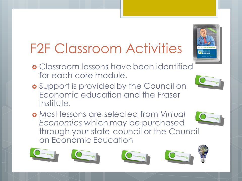 F2F Classroom Activities  Classroom lessons have been identified for each core module.