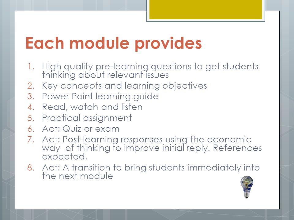 Each module provides 1.