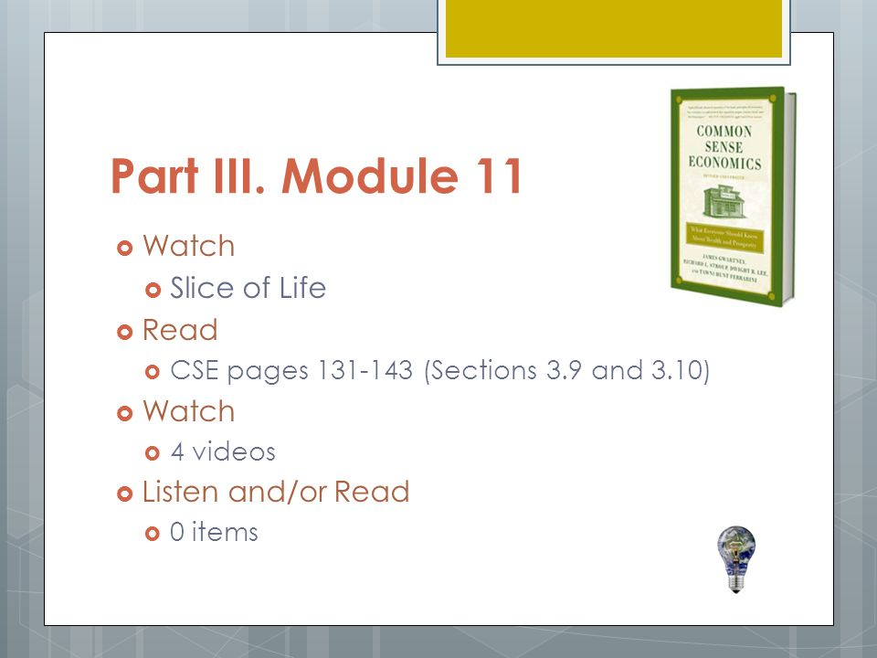 Part III. Module 11  Watch  Slice of Life  Read  CSE pages 131-143 (Sections 3.9 and 3.10)  Watch  4 videos  Listen and/or Read  0 items