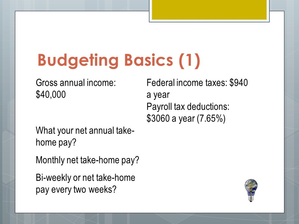 Budgeting Basics (1) Gross annual income: $40,000 Federal income taxes: $940 a year Payroll tax deductions: $3060 a year (7.65%) What your net annual