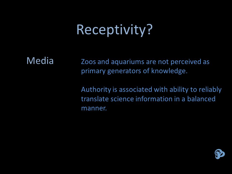 Receptivity. Zoos and aquariums are not perceived as primary generators of knowledge.