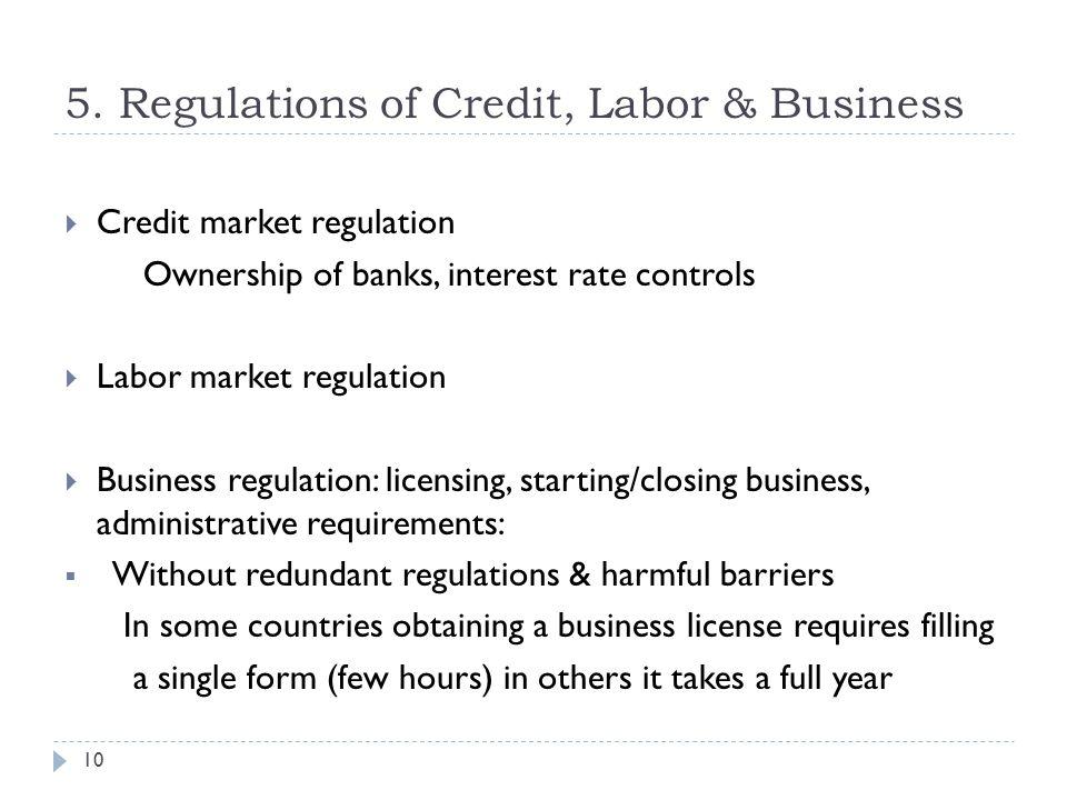 5. Regulations of Credit, Labor & Business 10  Credit market regulation Ownership of banks, interest rate controls  Labor market regulation  Busine