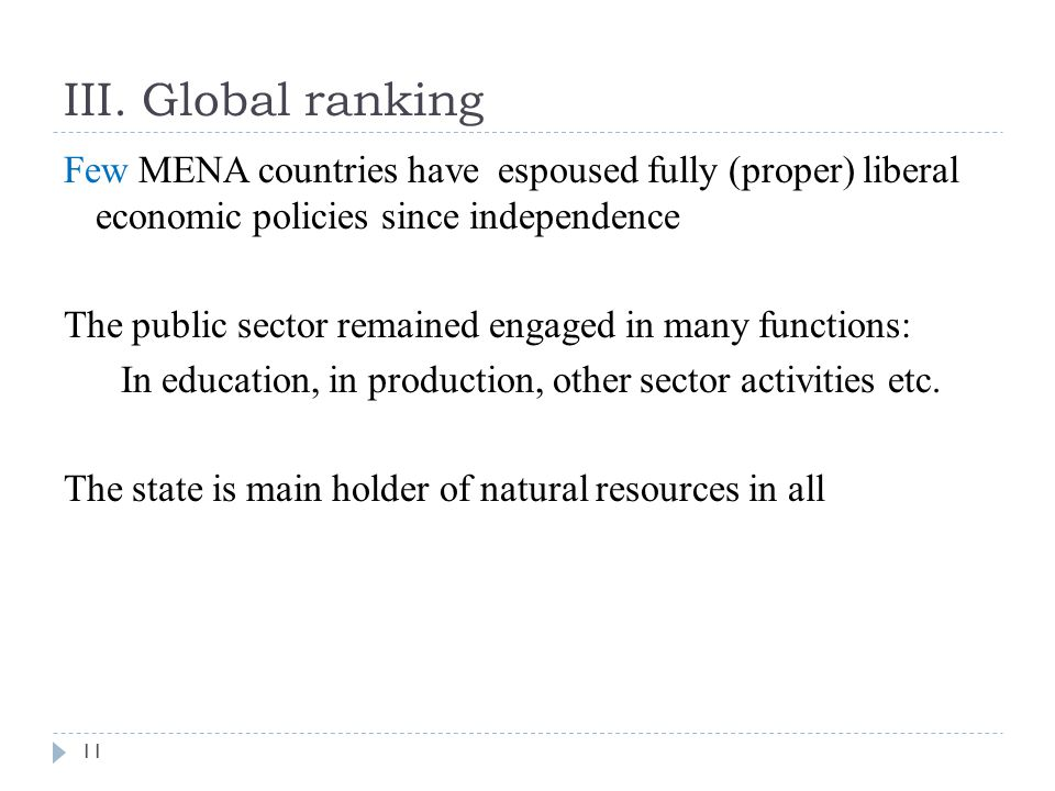 III. Global ranking Few MENA countries have espoused fully (proper) liberal economic policies since independence The public sector remained engaged in