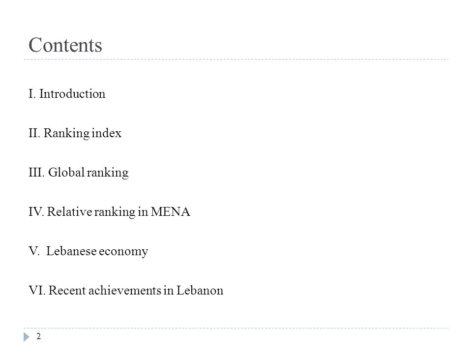 Contents I. Introduction II. Ranking index III. Global ranking IV. Relative ranking in MENA V. Lebanese economy VI. Recent achievements in Lebanon 2