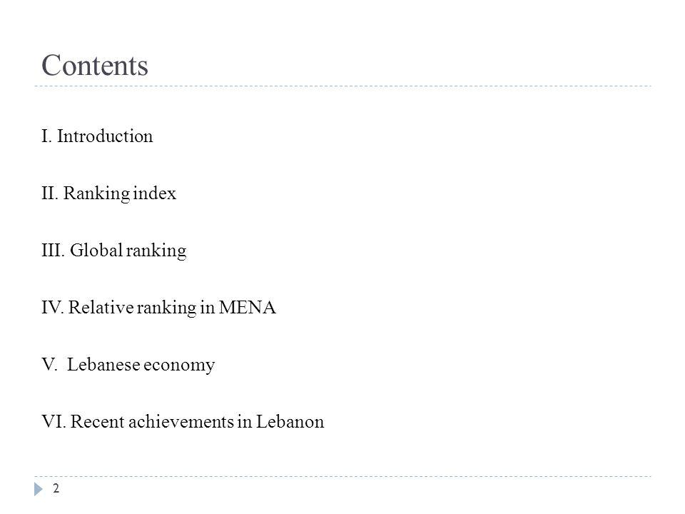Contents I.Introduction II. Ranking index III. Global ranking IV.