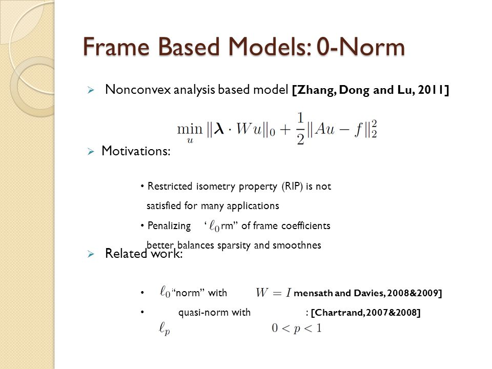 Frame Based Models: 0-Norm  Nonconvex analysis based model [Zhang, Dong and Lu, 2011]  Motivations:  Related work: Restricted isometry property (RI