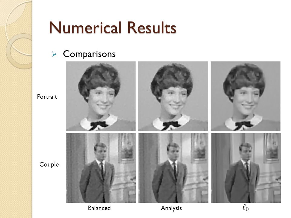 Numerical Results  Comparisons Portrait Couple BalancedAnalysis