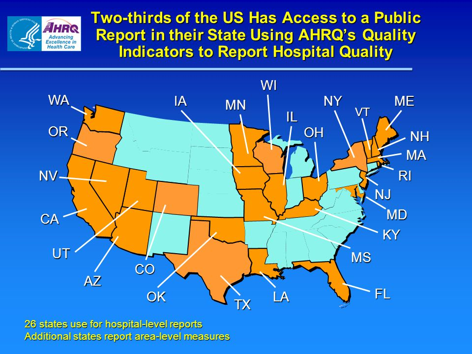 OR MA UT FL VT NJ CA IA KY NV 26 states use for hospital-level reports Additional states report area-level measures CO TX OH NY WI OK WA Two-thirds of