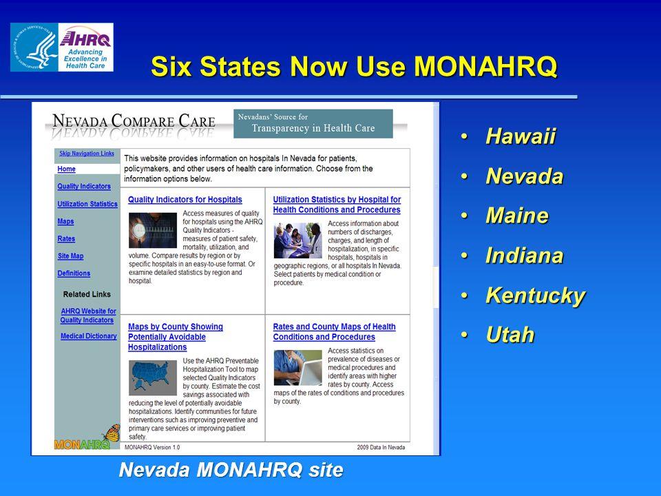 Six States Now Use MONAHRQ Nevada MONAHRQ site HawaiiHawaii NevadaNevada MaineMaine IndianaIndiana KentuckyKentucky UtahUtah