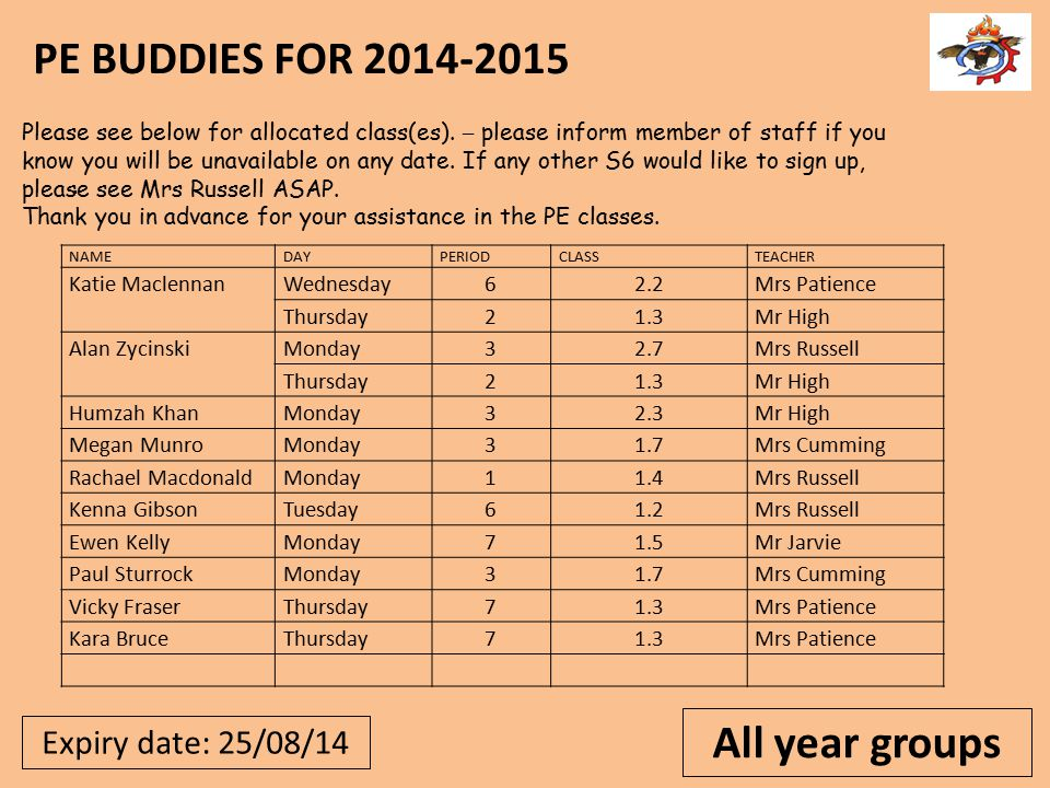 All year groups Expiry date: 25/08/14.