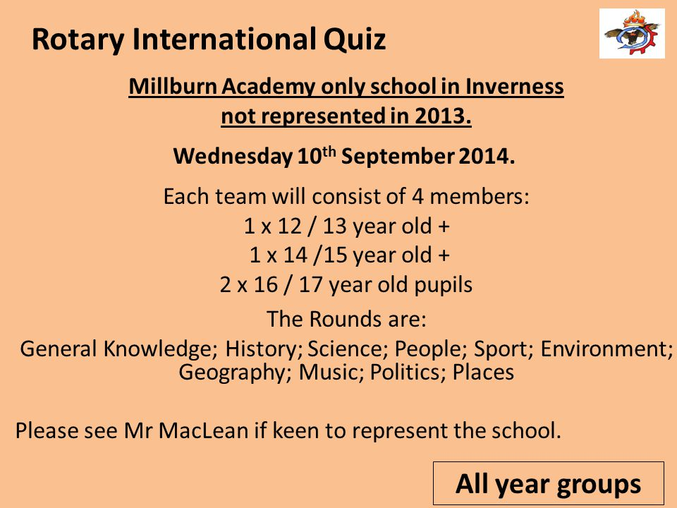 Rotary International Quiz Millburn Academy only school in Inverness not represented in 2013.