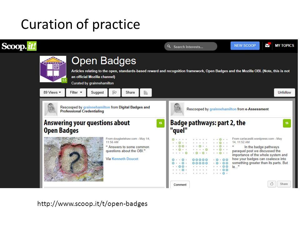 Curation of practice http://www.scoop.it/t/open-badges