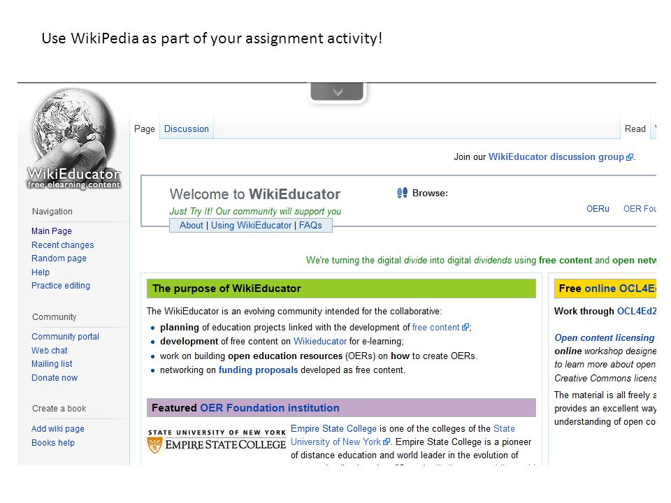 Use WikiPedia as part of your assignment activity!