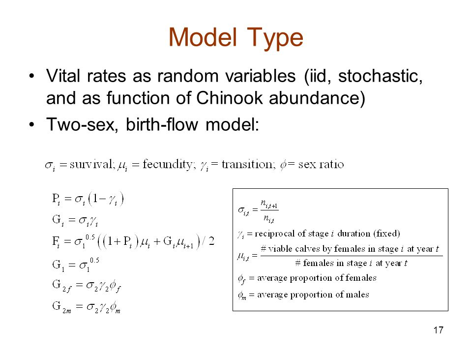 17 Model Type Vital rates as random variables (iid, stochastic, and as function of Chinook abundance) Two-sex, birth-flow model: