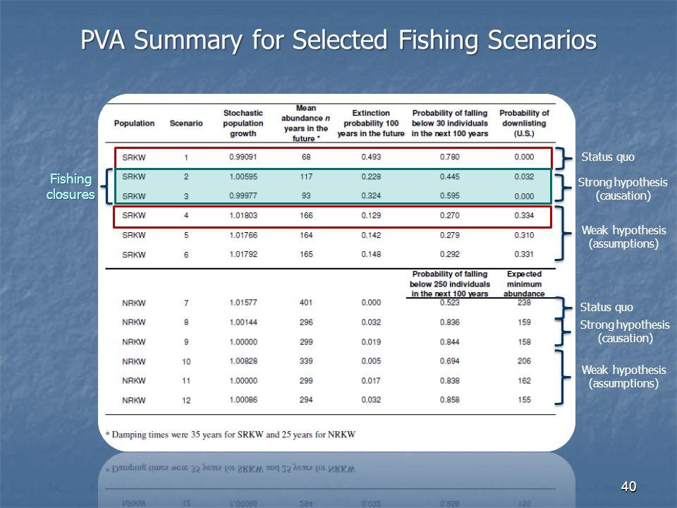 40 PVA Summary for Selected Fishing Scenarios Strong hypothesis (causation) Strong hypothesis (causation) Fishing closures Weak hypothesis (assumptions) Weak hypothesis (assumptions) Status quo