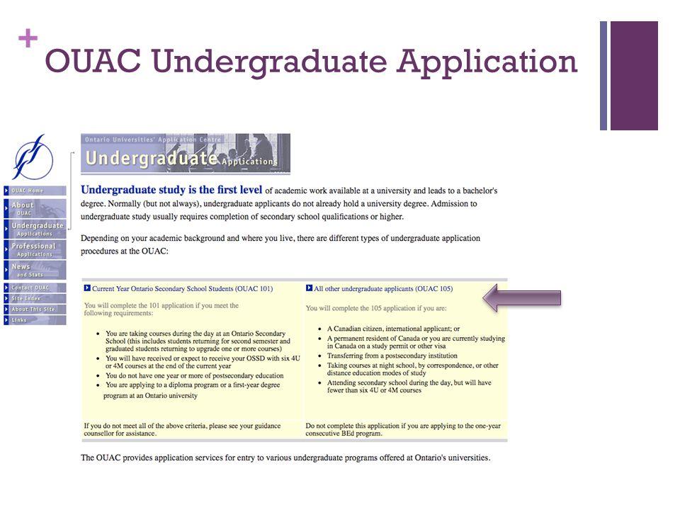 + OUAC Undergraduate Application
