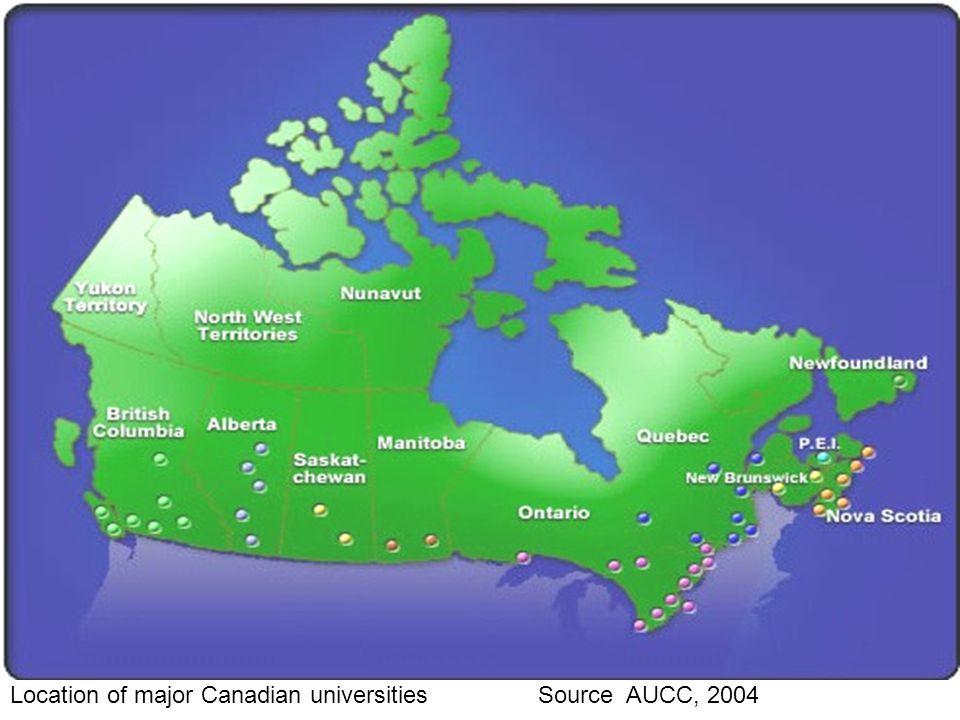 + Location of major Canadian universities Source AUCC, 2004