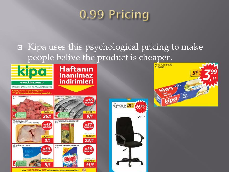  Kipa uses this psychological pricing to make people belive the product is cheaper.