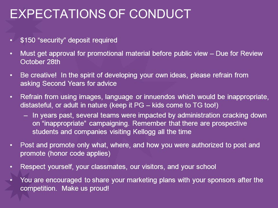 EXPECTATIONS OF CONDUCT $150 security deposit required Must get approval for promotional material before public view – Due for Review October 28th Be creative.