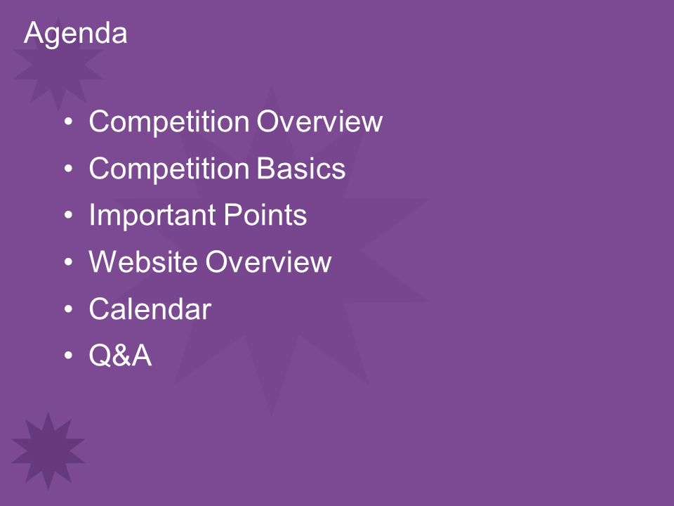 Agenda Competition Overview Competition Basics Important Points Website Overview Calendar Q&A