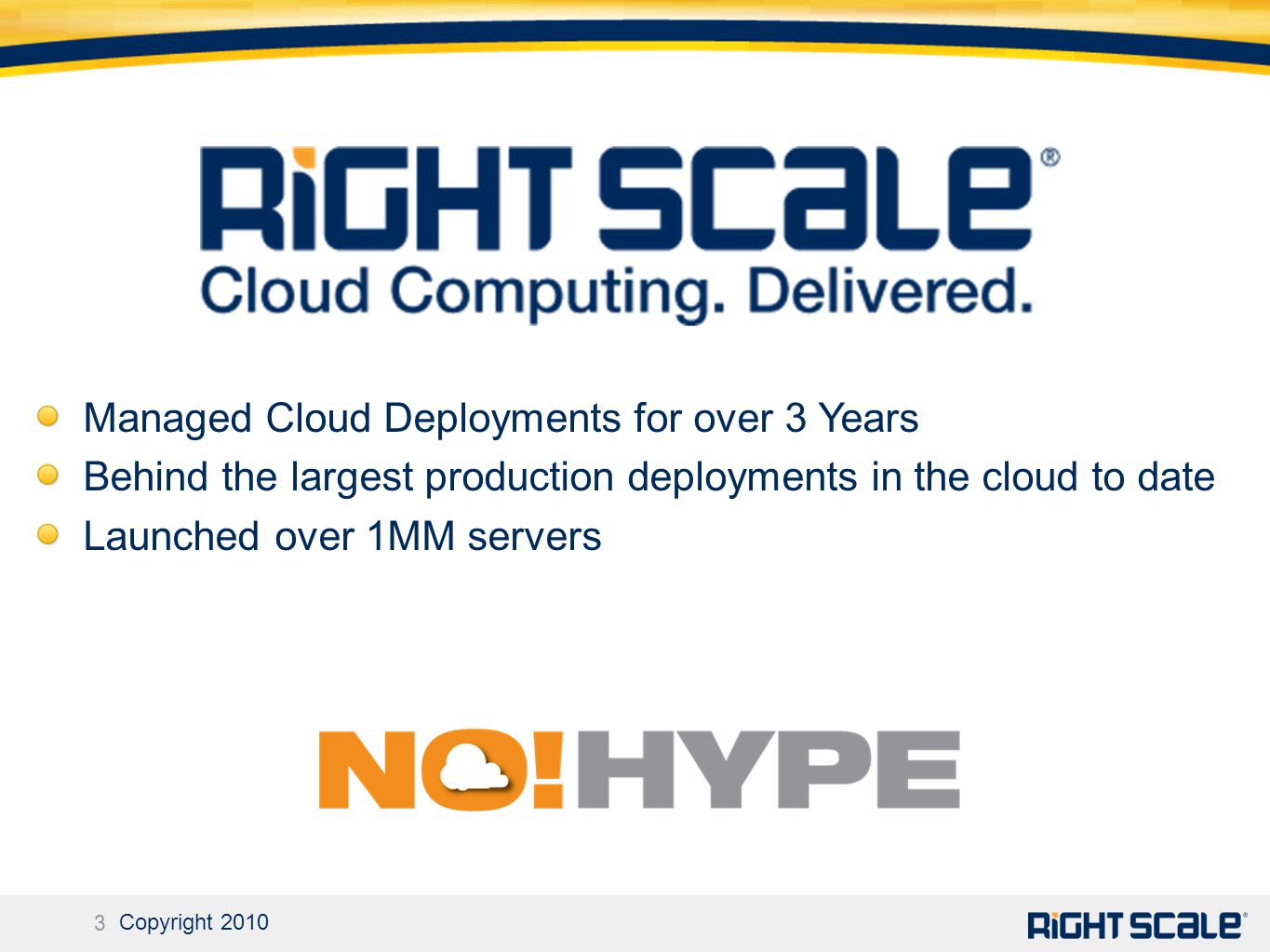 3 Copyright 2010 Managed Cloud Deployments for over 3 Years Behind the largest production deployments in the cloud to date Launched over 1MM servers