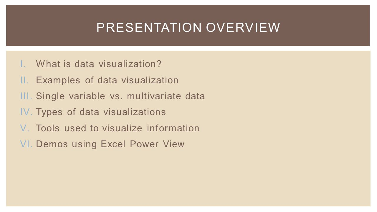 I.What is data visualization. II.Examples of data visualization III.Single variable vs.