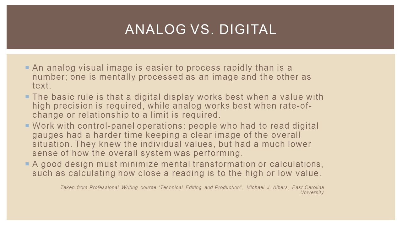  An analog visual image is easier to process rapidly than is a number; one is mentally processed as an image and the other as text.