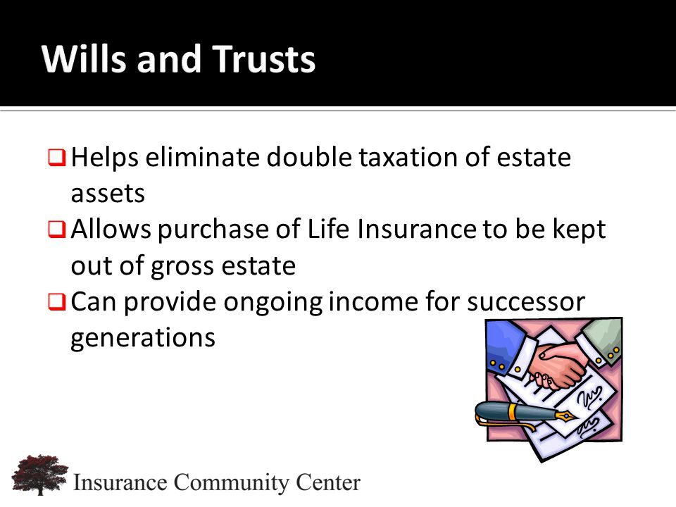 www.InsuranceCommunityUniversity.com  Helps eliminate double taxation of estate assets  Allows purchase of Life Insurance to be kept out of gross estate  Can provide ongoing income for successor generations