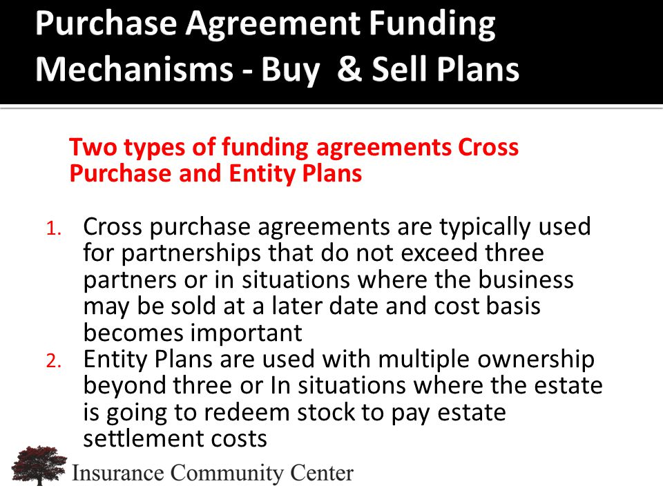 www.InsuranceCommunityUniversity.com Two types of funding agreements Cross Purchase and Entity Plans 1.