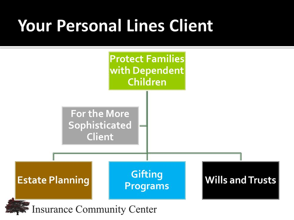 www.InsuranceCommunityUniversity.com Protect Families with Dependent Children Estate Planning Gifting Programs Wills and Trusts For the More Sophisticated Client