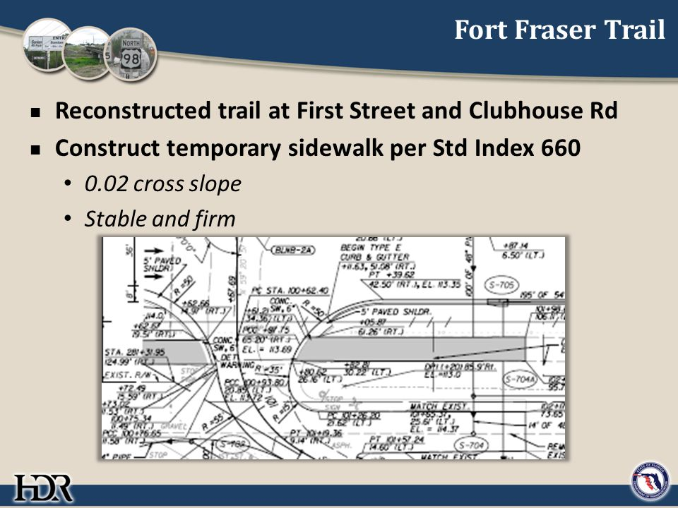 Fort Fraser Trail Reconstructed trail at First Street and Clubhouse Rd Construct temporary sidewalk per Std Index 660 0.02 cross slope Stable and firm
