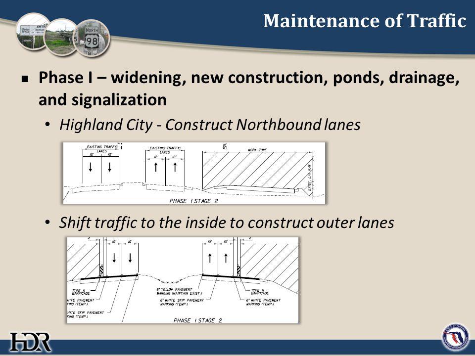 Maintenance of Traffic Phase I – widening, new construction, ponds, drainage, and signalization Highland City - Construct Northbound lanes Shift traff
