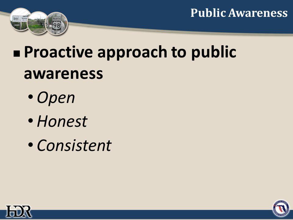 Public Awareness Proactive approach to public awareness Open Honest Consistent
